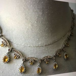 sterling silver Jewelry - NWOT sterling silver 925 citrine Cz drop necklace